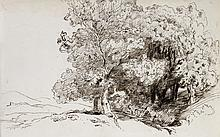 Paul Huet, A Copse of Trees with a Town in the Distance