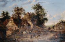 "Georgina Lara (act.1840-1880) British. A Farmyard Scene with Figures with Horses and Carts, Oil on Canvas, Signed 'E.Lara', 20"" x 30""."