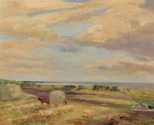 """Herbert Royle (1870-1958) British. 'Gathering the Hay', Oil on Board, Signed, 16"""" x 20""""."""