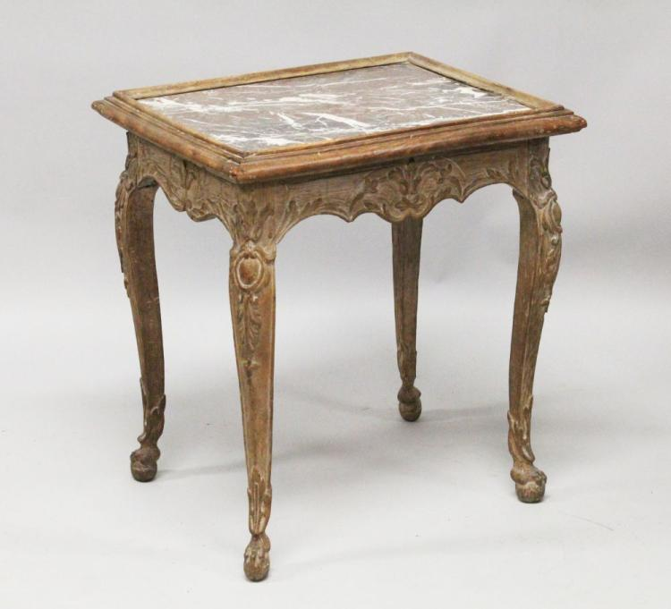 An 18th century french marble top table carved frieze and l for Table insert th