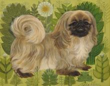 "Sheila Flinn (20th Century) British. Study of a Pekingese, Oil on Artist's Board, Signed, 8"" x 10""."