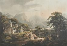 Francis John Sarjent (c.1790-1812) British. 'Entrance to the Vale of Llangollen, North Wales', Engraving, overall 17