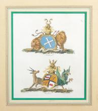 Francis Chesham (1749-1806) British. The Coat of Arms of 'Portland' and 'Manchester', Engraving after Charles Catton, 9.25