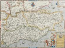 After Christopher Saxton (c.1540-c.1610) British. 'Map of Kent, Sussex, Surrey and Middlesex', Print, overall 19.5