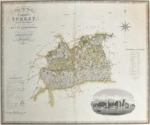 Charles & John Greenwood (19th Century) British. 'Map of the County of Surrey, Engraving, 22