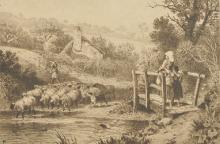 After Myles Birket Foster (1825-1899) British. Children on a Bridge, Engraving, Signed in Pencil, Unframed, 6.25