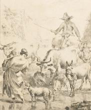 After Nicolaes Berchem (1620-1683) Dutch. Drover and Cattle, Engraving, Unframed, 10