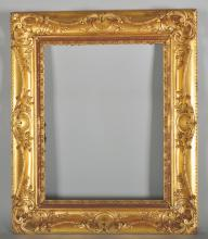 19th Century English School. A Gilt Composition Frame, with Pierced Centres and Corners, 22