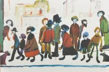 Lawrence Stephen Lowry (1887-1976) British. Figures in a Street Scene, Lithograph with Guild Stamp, Signed in Pencil, 13.25