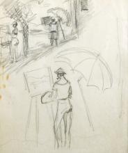 Eugen Spiro (1874-1972) German/American. An Artist at their Easel, Pencil, 8
