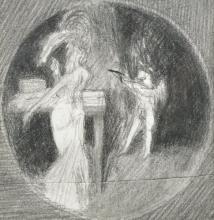 20th Century English School. An Interior Scene with a Lady and a Cherub, Pencil, Circular, 4