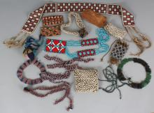 A QUANTITY OF EASTERN BEAD WORKED ITEMS.