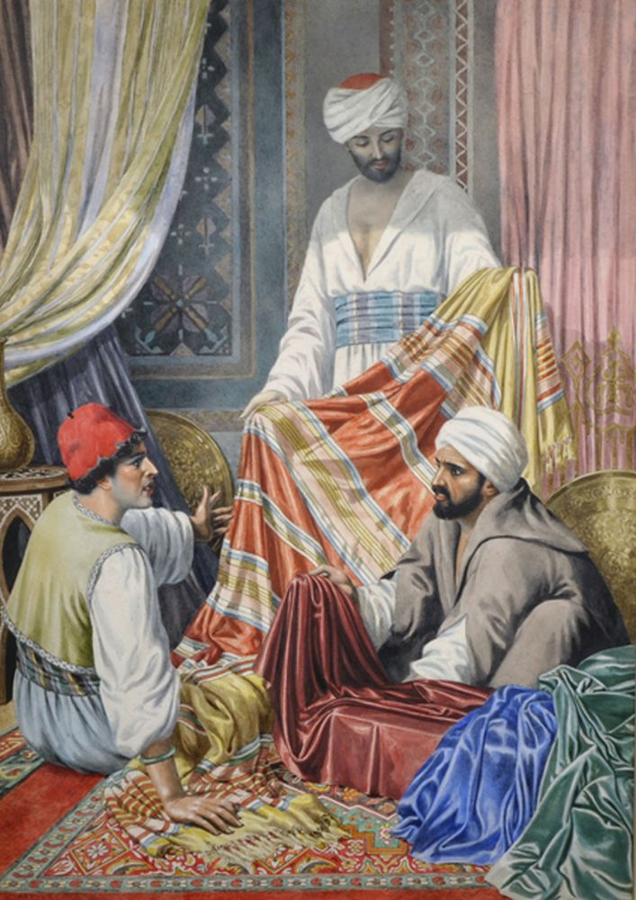 Arthur Barrett (19th - 20th Century) British. An Interior Scene, with Middle Eastern Carpet Sellers, Watercolour, Signed, 20.75