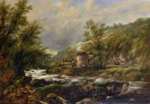 Frederick William 'Waters' Watts (1800-1870) British. A River Landscape, with Figures by a Farm Building, and Figures on a Horse and Cart, Oil on Canvas, 20