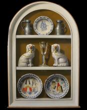 """Frederick Clifford Harrison (1901-1984) British. """"2 Plates, 2 Dogs, Glass, 2 Pewter Jugs + Plate, on Old Gold Background [sic]"""", Oil on Arched Board, Signed with Initials 'CH' and Dated 1978, and Inscribed on a label on the reverse, 36"""" x 24""""."""