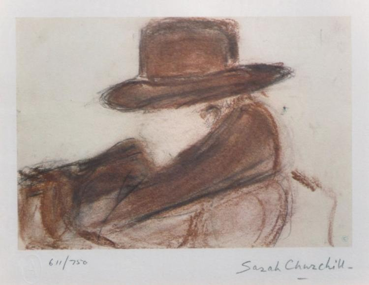 Sarah Churchill (1914-1982) British. A Study of Winston Churchill, Wearing a Hat, Lithograph, Signed and numbered 611/750 in Pencil, 4.75