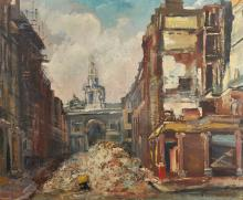 """Alfons Purtscher (1885-1962) Austrian. """"Half Moon Street"""", A Bombed Street during World War II, Oil on Panel, Indistinctly Signed, 18.75"""" x 22.5"""". Exhibited: City Art Gallery, Manchester, Civil Defence Artists Exhibition, 1942."""