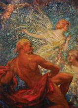 """John Milne Purvis (1881-1965) British. """"Phoebus Aroused by the Hours"""", Oil on Paper, Signed and Dated '22, and Inscribed on a label on reverse, 15"""" x 10.75"""". Provenance: William Fleming Wilkie (1876-1961) Architect, Dundee."""