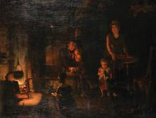 """Edwin Cockburn (act.1837-1868) British. An Interior of a Cottage with a Young Family by the Fireside, Oil on Canvas, Signed and Dated 1857, and Indistinctly Inscribed on a label on reverse, 23.75"""" x 32""""."""