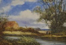 """Percy Leslie Lara (b.1871) British. """"Harvesting near Slough, Bucks"""", with Figures Fishing on the River's Edge, a Thatched Cottage beyond, Watercolour, Signed, and Inscribed on the reverse, 10.5"""" x 15""""."""