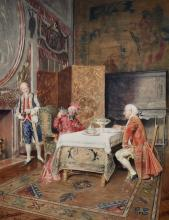 """Bernard Louis Borione (1865- ? ) Italian. An Interior Scene, with a Cardinal tasting Wine with other Figures, Watercolour, Signed and Inscribed 'Paris', 21.25"""" x 16.25""""."""