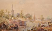 """Samuel Austin (1796-1834) British. A Canal Scene, with Figures by a Lock Gate, and a Church in the distance, Watercolour, Signed, 12.75"""" x 21""""."""