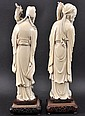 A FINE PAIR OF 19TH CENTURY CHINESE IVORY FIGURES