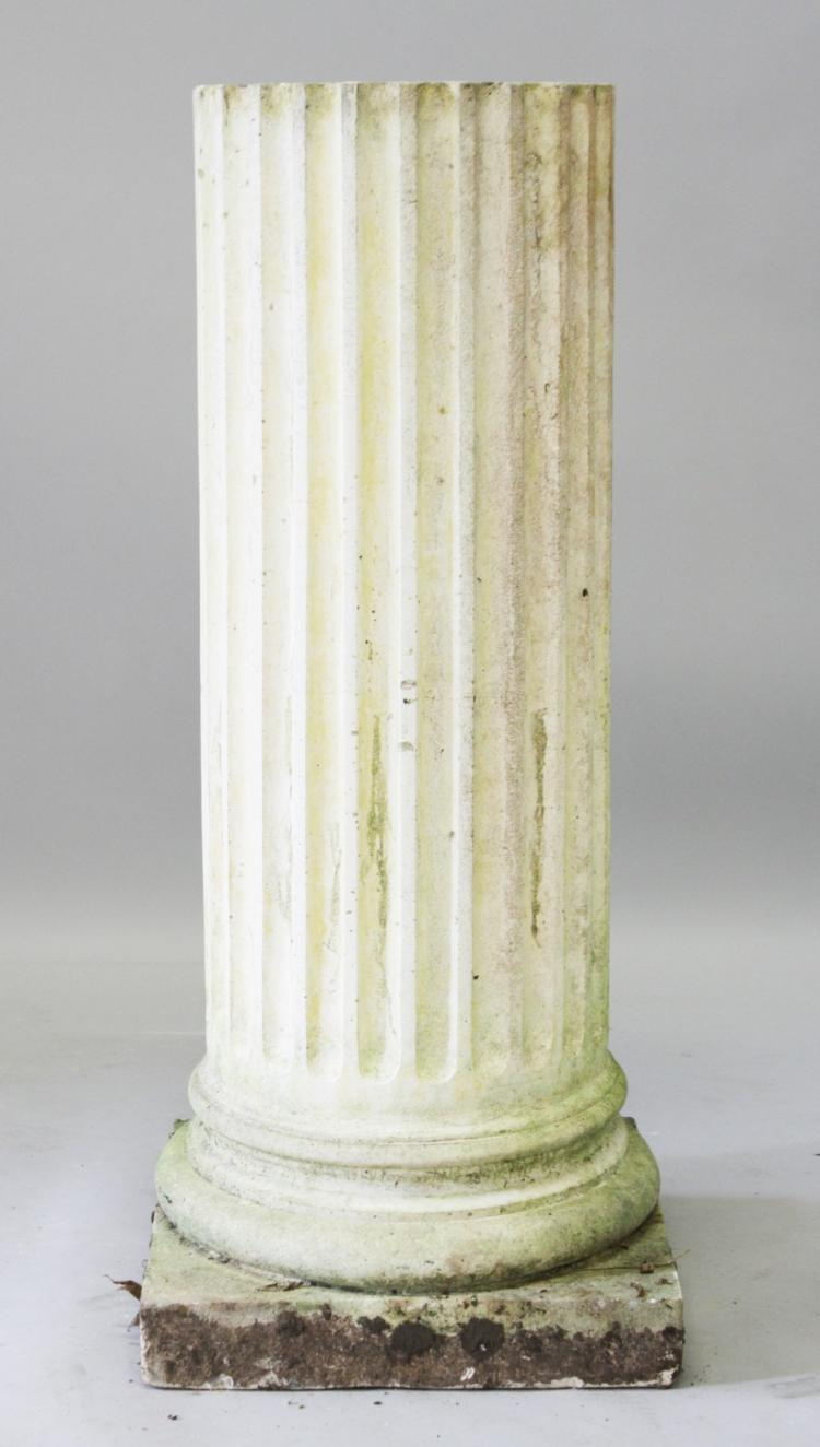 A good fluted circular pedestal on a square base 3ft 3ins for Fluted pedestal base