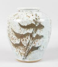 A SPECKLED STONEWARE STUDIO POTTERY VASE by DAVID E. ELLIS, CIRCA. 1955, stamped DE entwined and sunburst.  7.5ins high.