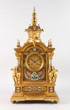 A SUPERB LARGE 19TH CENTURY FRENCH GILT BRONZE AND CHAMPLEVE ENAMEL DECORATED CLOCK, with eight-day movement, No. 2043, striking on a single bell mounted with three cupids. <br>25ins high.
