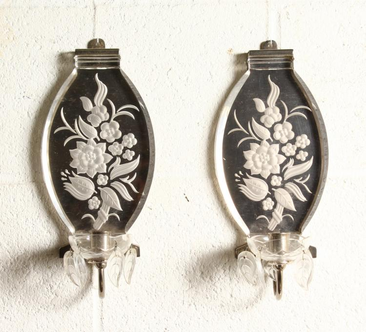 Art Deco Candle Wall Sconces : A PAIR OF ENGRAVED ART DECO DESIGN WALL SCONCES with candle