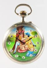A LARGE DOXA EROTIC POCKET WATCH. <br>2.5ins diameter.