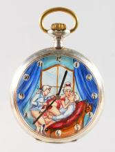 A SMALL FRENCH SILVER EROTIC POCKET WATCH. <br>1.75ins diameter.