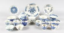 NINETEEN PIECES OF 18TH CENTURY ENGLISH BLUE AND WHITE PORCELAIN mainly Worcester and Liverpool, including a rare Worcester Scalloped Peony cup.