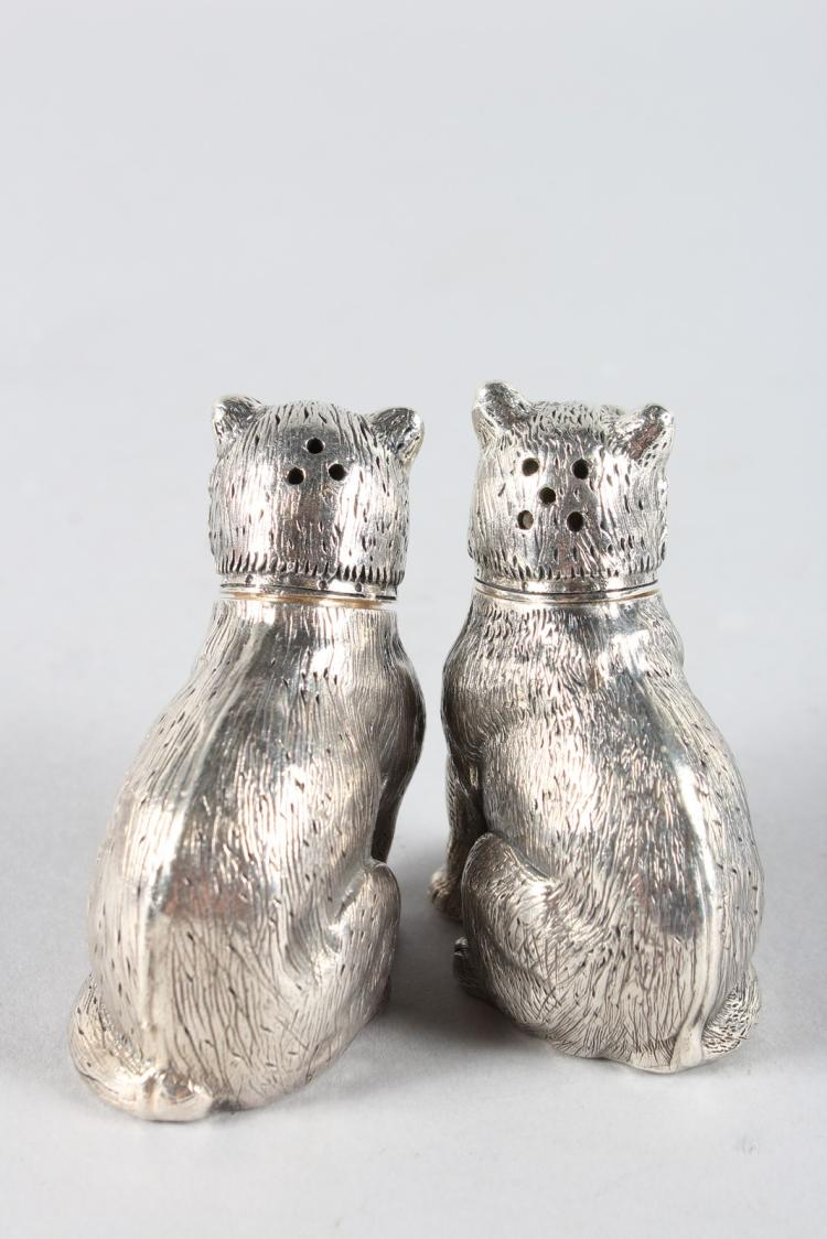 A Pair Of Solid Silver Novelty Pug Dog Salt And Peppers