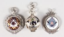 THREE SILVER MASONIC FOBS.