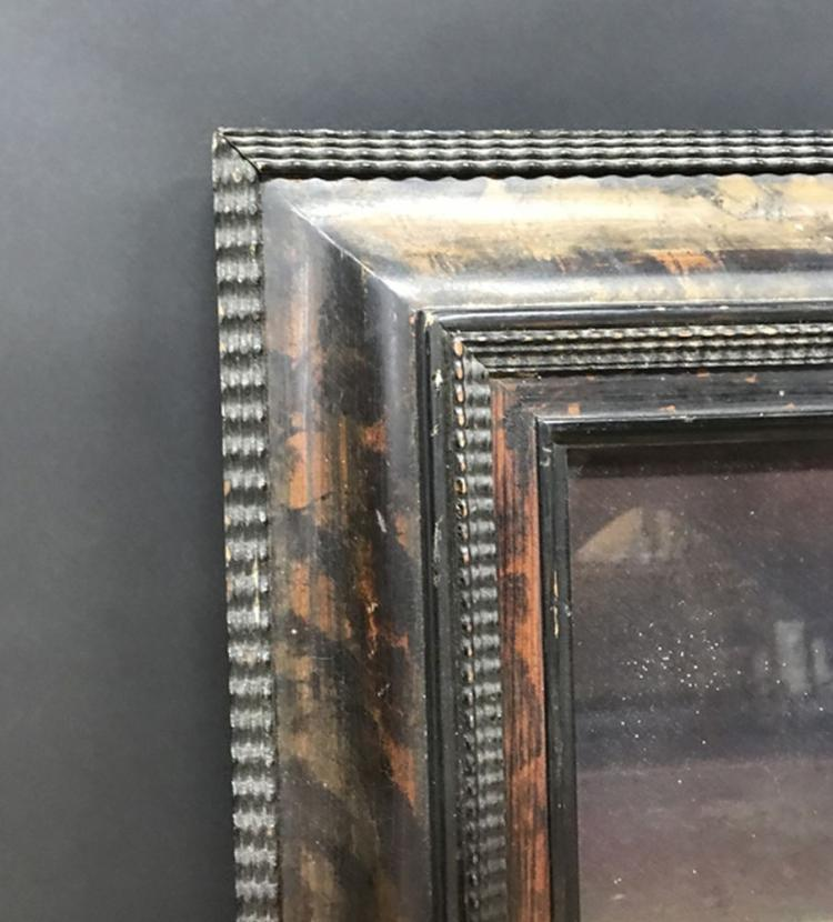 20th Century Dutch School Style. A Painted Tortoiseshell and Black Style Frame, 22