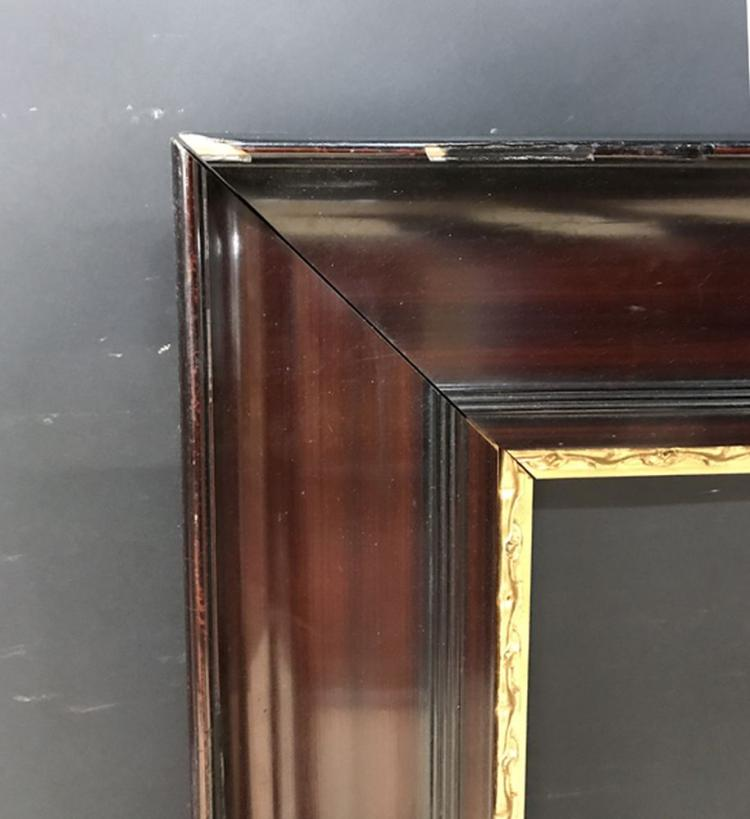 20th Century Continental School. A Lacquered Frame with Carved Gilt Slip, 28.5
