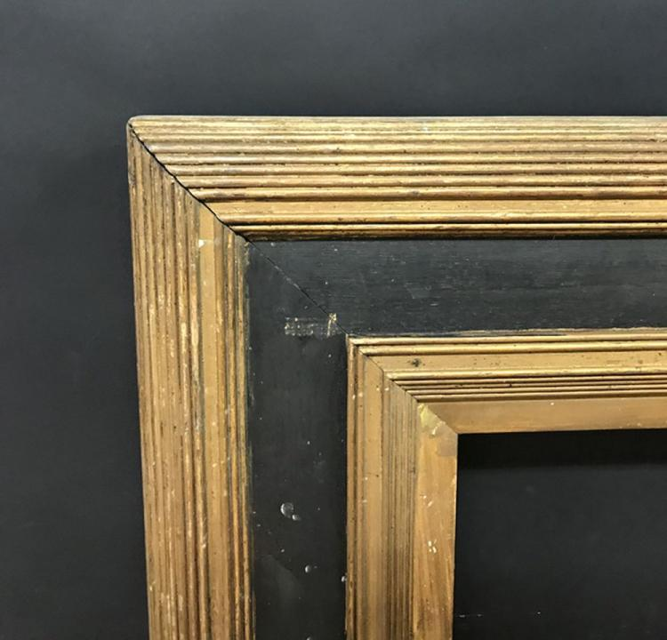 19th Century English School. A Gilt and Black Ribbed Frame, 32.5