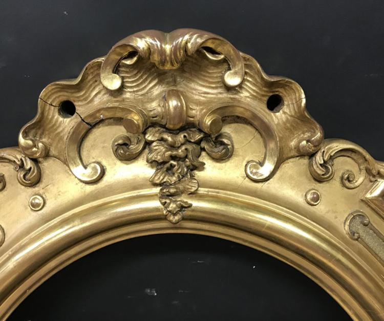 19th Century French School. A Gilt Composition Frame with an Ornamental surround, Oval, 27.5