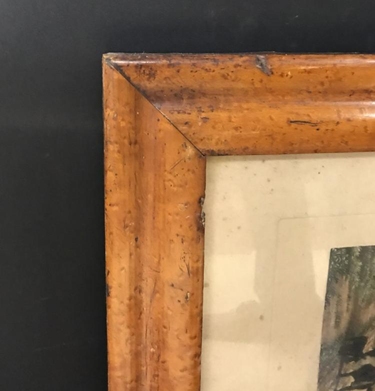 19th Century English School. A Maple Frame with inset Hunting Print, 20.5