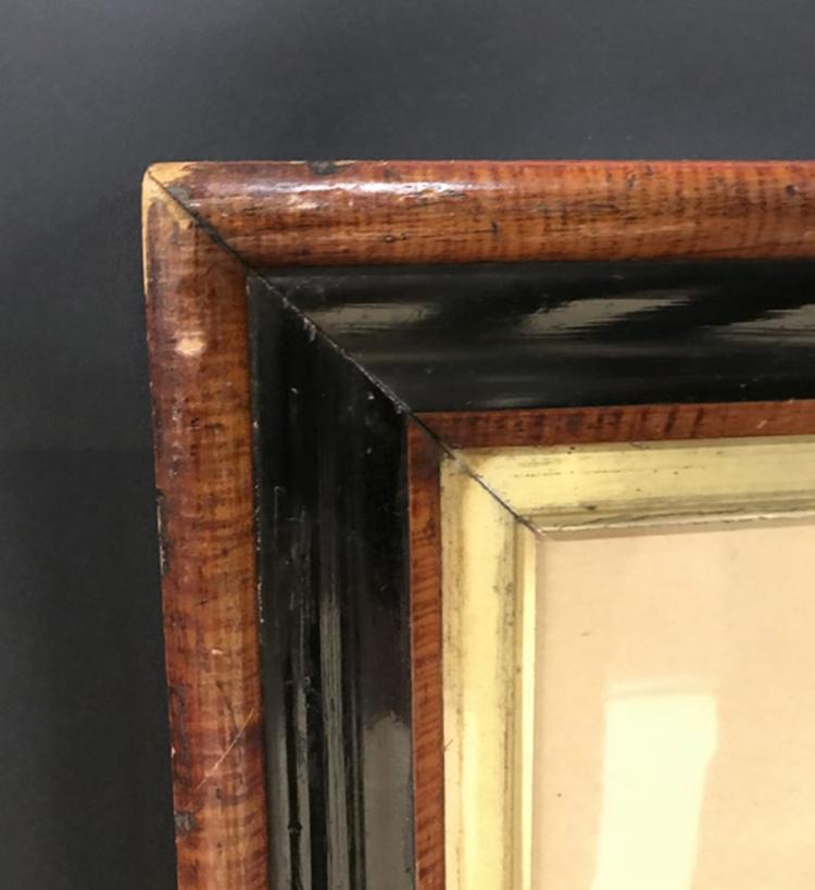 19th Century English School. A Mahogany and Ebony Frame with a Gilt Slip, 27