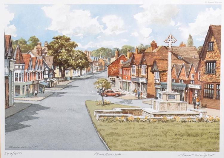 Bert Wright (1930- ) British. 'Haslemere', with the Monument, Lithograph, Signed, Inscribed and numbered 349/850 in Pencil, 5.75