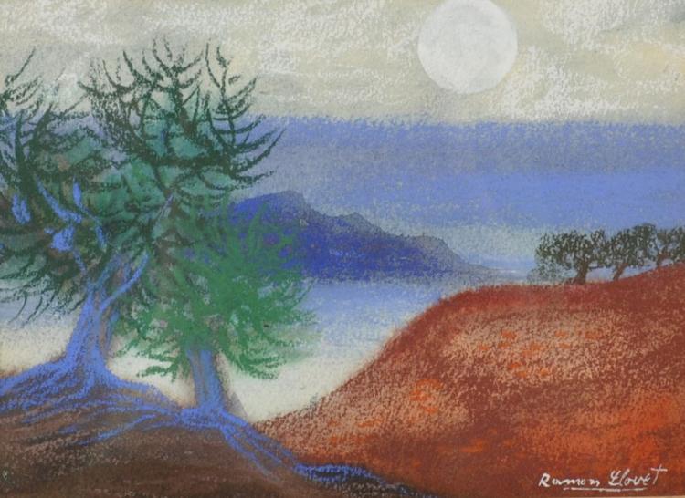 Ramon Llovet (1917-1987) Spanish. An Extensive River Landscape, Chalk, Signed, 5.5