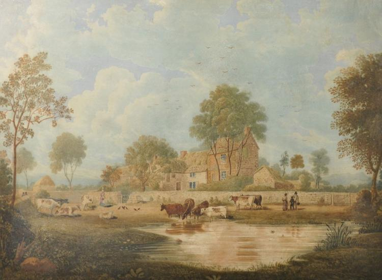 19th Century English School. Cattle Watering in a Farmyard with a Lady Feeding Chickens and other Figures nearby, Watercolour, Unframed, 15.25