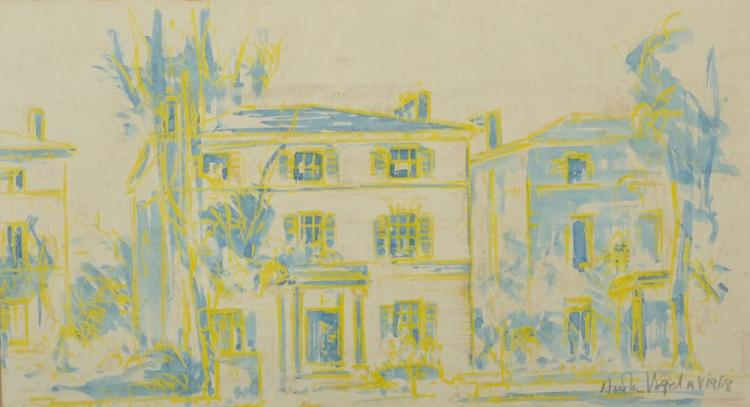 Austen Vogel (20th Century) European. A London Mansion, Mixed Media, Signed and Dated 1968 in Pencil, 7.5