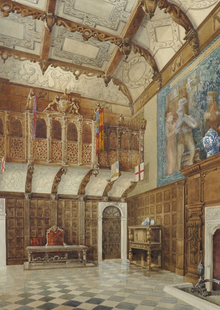 Septimus Derry Parkhouse (19th - 20th Century) British. Interior of a Great Hall, Watercolour, 25.5