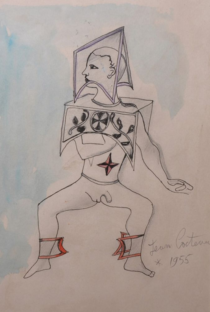 After Jean Cocteau (1889-1963) French. A Standing Figure, Mixed Media, bears a Signature, 10.25