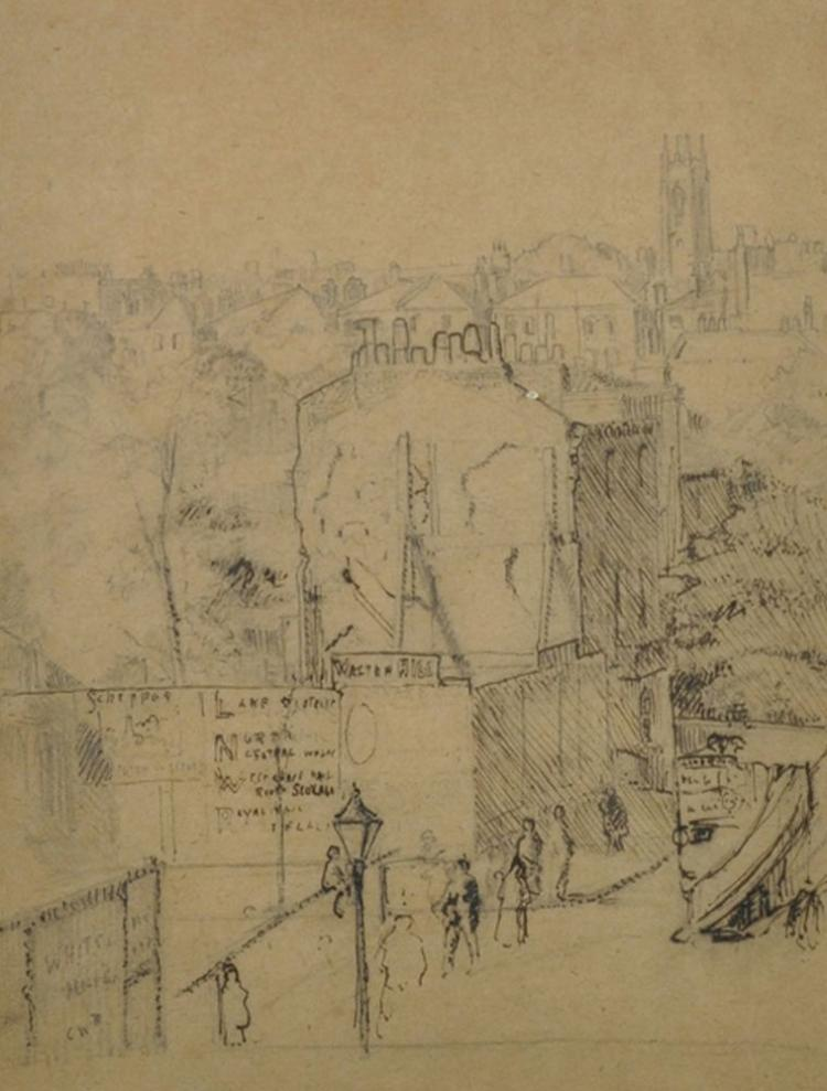 19th Century English School. A British Street Scene, with Figures and a Bus, Pen and Pencil, 7.5