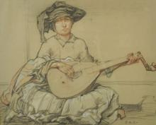 20th Century English School. A Musician playing the Oud, Pastel, Signed with Initials 'E.A.C.', 11.5